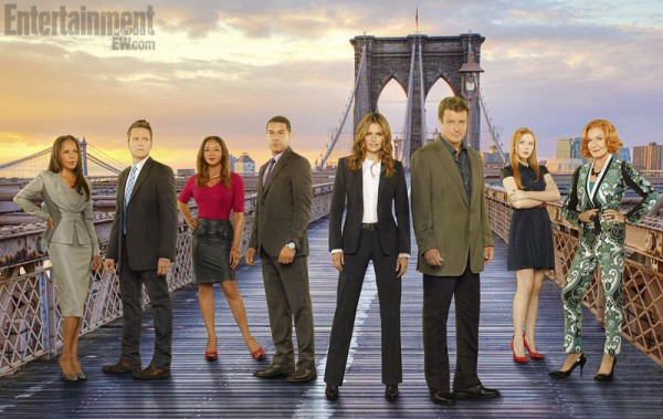 "CASTLE - ABC's ""Castle"" stars Penny Johnson Jerald as NYPD Captain Victoria Gates, Seamus Dever as NYPD Detective Kevin Ryan, Tamala Jones as Medical Examiner Lanie Parish, Jon Huertas as NYPD Detective Javier Esposito, Stana Katic as NYPD Detective Kate Beckett, Nathan Fillion as Richard Castle, Molly Quinn as Alexis Castle with Susan Sullivan as Martha Rodgers. (ABC/Bob D'Amico/Getty Images/Anne Strickland)"